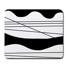 White and black waves Large Mousepads
