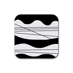 White and black waves Rubber Coaster (Square)