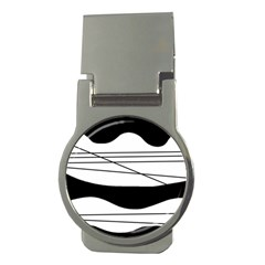 White and black waves Money Clips (Round)