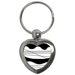 White and black waves Key Chains (Heart)