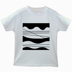 White and black waves Kids White T-Shirts