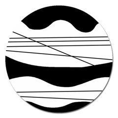 White and black waves Magnet 5  (Round)