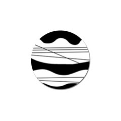 White and black waves Golf Ball Marker