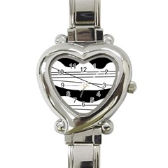 White and black waves Heart Italian Charm Watch