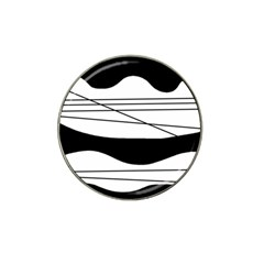 White and black waves Hat Clip Ball Marker