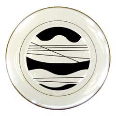 White and black waves Porcelain Plates