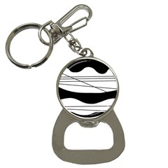 White and black waves Bottle Opener Key Chains