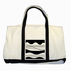 White and black waves Two Tone Tote Bag