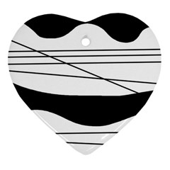 White and black waves Heart Ornament (2 Sides)