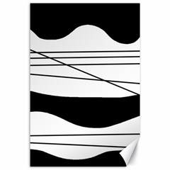White and black waves Canvas 24  x 36