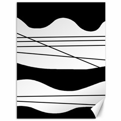 White and black waves Canvas 36  x 48