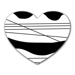 White and black waves Heart Mousepads