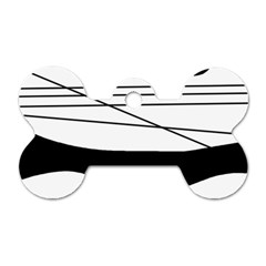 White and black waves Dog Tag Bone (Two Sides)
