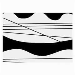 White and black waves Large Glasses Cloth