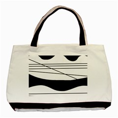 White and black waves Basic Tote Bag (Two Sides)