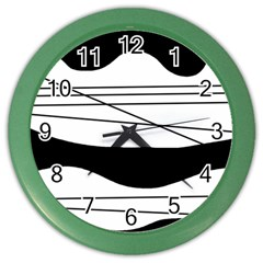 White and black waves Color Wall Clocks