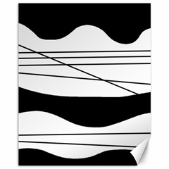 White and black waves Canvas 11  x 14
