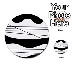 White and black waves Multi-purpose Cards (Round)