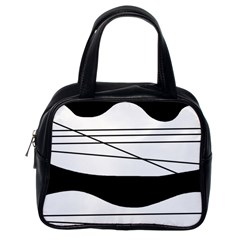 White and black waves Classic Handbags (One Side)