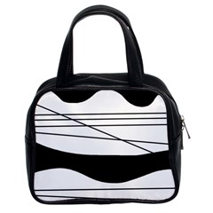 White and black waves Classic Handbags (2 Sides)