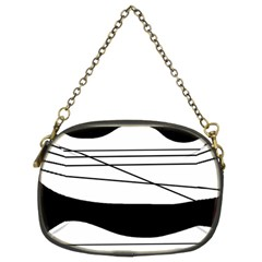 White and black waves Chain Purses (Two Sides)