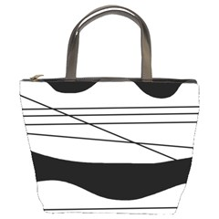 White and black waves Bucket Bags