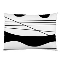 White and black waves Pillow Case