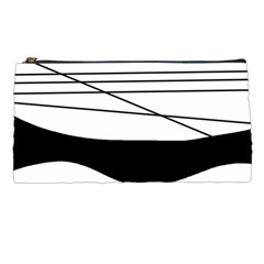 White and black waves Pencil Cases