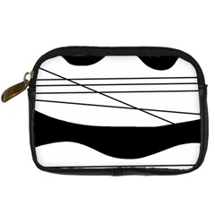 White and black waves Digital Camera Cases