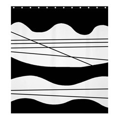 White and black waves Shower Curtain 66  x 72  (Large)