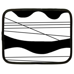 White and black waves Netbook Case (XL)
