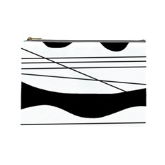 White and black waves Cosmetic Bag (Large)