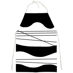 White and black waves Full Print Aprons