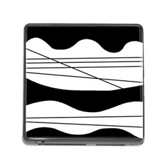 White and black waves Memory Card Reader (Square)
