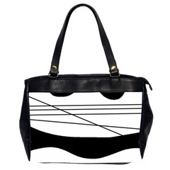 White and black waves Office Handbags (2 Sides)