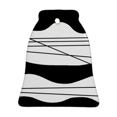 White and black waves Bell Ornament (2 Sides)
