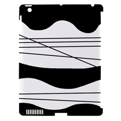 White and black waves Apple iPad 3/4 Hardshell Case (Compatible with Smart Cover)