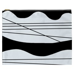 White and black waves Cosmetic Bag (XXXL)