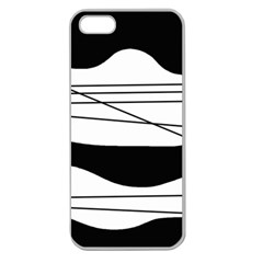 White and black waves Apple Seamless iPhone 5 Case (Clear)