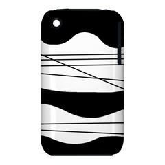 White and black waves Apple iPhone 3G/3GS Hardshell Case (PC+Silicone)