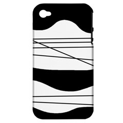 White and black waves Apple iPhone 4/4S Hardshell Case (PC+Silicone)