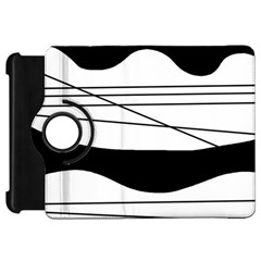 White and black waves Kindle Fire HD Flip 360 Case
