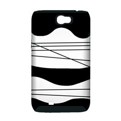 White and black waves Samsung Galaxy Note 2 Hardshell Case (PC+Silicone)