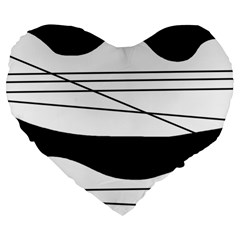 White and black waves Large 19  Premium Heart Shape Cushions