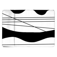 White and black waves Samsung Galaxy Tab 10.1  P7500 Flip Case
