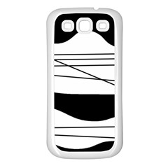 White and black waves Samsung Galaxy S3 Back Case (White)