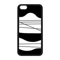 White and black waves Apple iPhone 5C Seamless Case (Black)