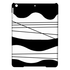 White and black waves iPad Air Hardshell Cases