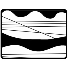 White and black waves Double Sided Fleece Blanket (Large)