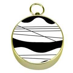 White and black waves Gold Compasses